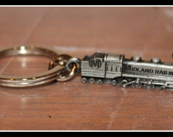 Midland Railway Pewter Keying, Advertising Keyring, Pewter Train Keying, Keychain, Steam Engine Collectible Advertising, Miniature Train