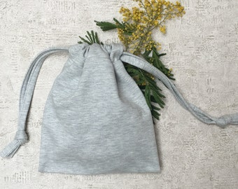 Heather gray fleece - reusable cotton bag - zero waste smallbags