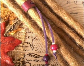 M/L - Unique hand crafted, up-cycled genuine leather dread/hair cuff/bead with beaded tails.