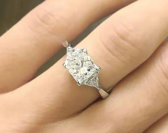 Princess Cut Diamond Engagement Ring 14k White Gold or Yellow Gold Classic Design Diamond Ring Art Deco Anniversary Ring