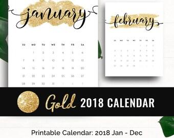 Monthly Calendar 2018 Wall Calendar • Printable Calendar 2018 Desk Calendar Gold Wall Calendar Calendrier 2018 Monthly Wall Planner Calendar