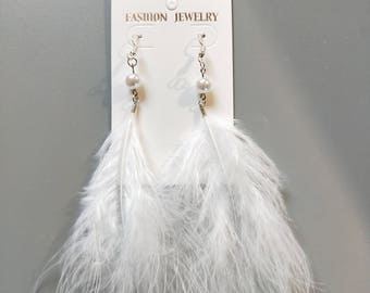 White Marabou Turkey Feather Earrings With Pearl Decoration