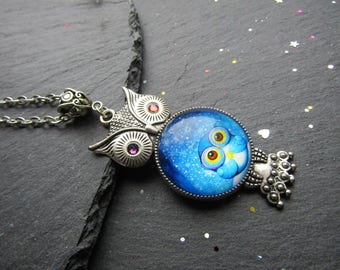 Blue Owl Necklace, Owl Jewelry, Owl Necklace, Blue owl, Cute Owl Necklace, Owl Pendant, Owl Cabochon Necklace, Gift for Owl Lover, Boho Owl