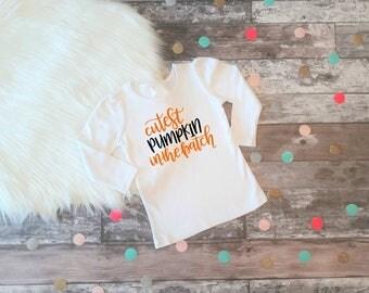 Cutest Pumpkin Shirt Girls Pumpkin Shirt Girls Halloween Outfit Pumpkin Patch Shirt Baby Girl Halloween Shirt Halloween Outfit LS