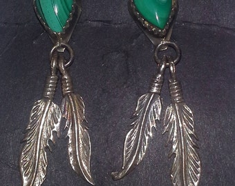 Vintage malachite and sterling  silver earring with feathers.