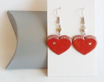 Earrings red heart, red and Silver earrings, Stud Earrings, love, heart, love gift