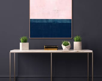 Oversized Pink and Navy Blue Abstract Wall Art, Pink and Indigo Painting, 30x30 Printable Art, Extra Large Wall Art, Inspiration Abstracts