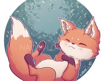 "Sleepy Fox, Sticker and/or Print. 6x6"", 8x8"""