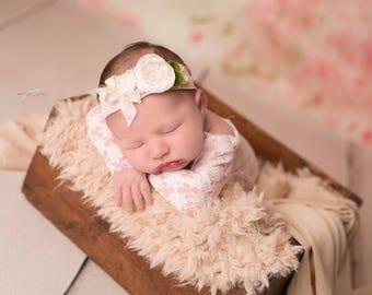 Newborn lace romper / photography prop