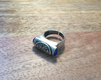 Extremely Unique Sterling Silver Ring Handmade in Egypt. Arabic Calligraphy. Blue Accent Stones. Rustic. BohoCairo