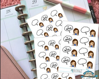 TIFFI Kawaii Girl I'm Bored Planner Stickers - Thinking Sticker - Thought Bubble Sticker - Planner Decoration (MM116)