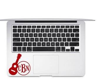 Guitar Decal - Guitar Monogram Decal - Gift for Music Teacher - Acoustic Guitar Decal - Guitar Laptop Decal - Gift for Musician - Car Decal