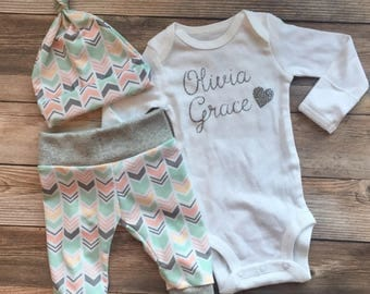 Peach and Mint Chevron Girl Coming Home Outfit, Going Home Outfit, baby girl outfit, newborn girl outfit, newborn girl, baby shower gift