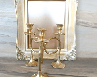 Brass triple candle holder,Candlestick with hornet base,Holiday Decor,