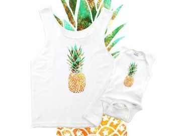 Mommy and me, Mommy and Me Outfits, Matching Mommy Baby, Pineapple baby bodysuit, Kids pineapple, Childrens clothing, CHOICE of tops!