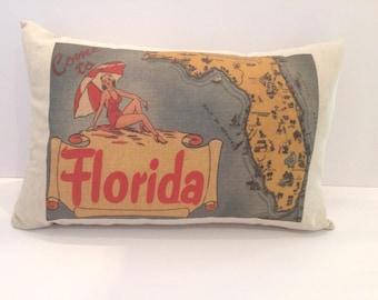 Florida Vintage Style Lumbar State Pillow