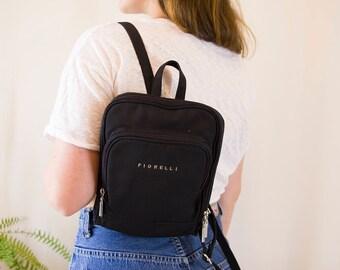 Fiorelli Vintage Backpack Black // 90s Festival Minimal Mini Bag Rucksack