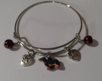 Dachshund Black and Tan Bangle Bracelet,Free Shipping, Ceramic Dachshund Bead, Love My Dog and Paw Charms, Great Gift for Dog Lovers