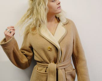 50s/60s Unisex Two Toned Beige & Off White Jacket Mohair Wool Coat