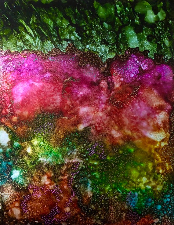 "Original Alcohol Ink Abstract Painting: ""Sprouts and Blossoms"" (11"" X 14"")"