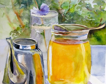 Framed Original Watercolor, Honey watercolor, Original still life, Art, Unique gift for wife, For her Kitchen decor,  ready to hang