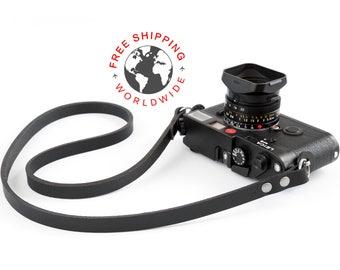 Leather camera strap (The ''minimalist'' (Matte black))