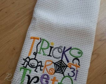 Halloween Themed Embroidered Hand Towels - Canvas hanging wall banner - Witch, Trick or Treat - Hostess, Friend, girlfriend - gifts under 15