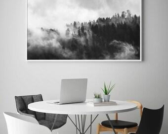 Foggy Forest, Forest Fog Print, Forest, Fog, Mist Forest, Forest Print, Black and White Forest, Scandinavian, Forest Poster, Nordic Decor