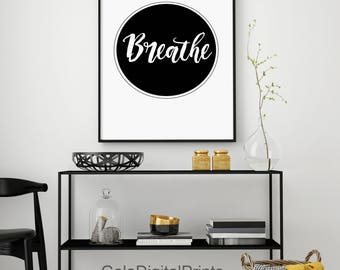 Breathe Print, Yoga Print, Circle Typography, Pilates Poster, Relaxation Gifts, Breathe Poster, Inspirational Poster, Modern, Typography Art