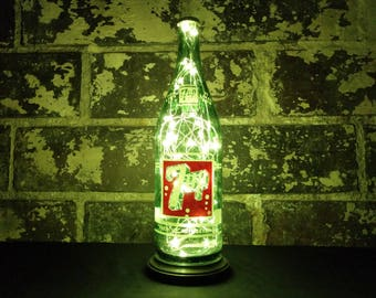 """Vintage 7-Up """"You Like It"""" Portable Bottle Lamp. White LED Lights. Man Cave / Office / Bar / Kitchen / Garage"""