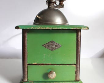 Coffee grinder vintage French Grulet green country kitchen rustic style rare