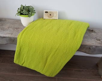 "Vintage Electric Automatic Heated Fleece Blanket / Twin Size 61"" x 84"" / Made by Sears Roebuck & Co / Retro Green / Warm Bedding Bed Warmer"