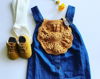 Crochet Baby Dribble Bib - Mustard