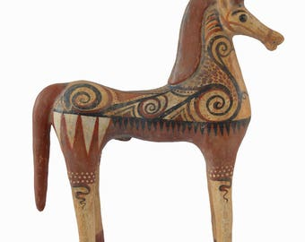 Ancient Greek Horse Sculpture Symbol of Wealth and Prosperity