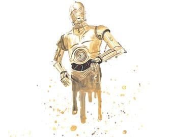 C-3PO Star Wars Watercolor 8x10 Art Print
