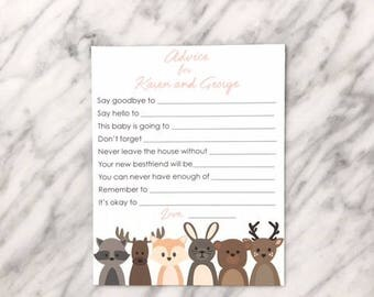 Woodland Animal Baby Shower Advice Card, Baby Shower Game