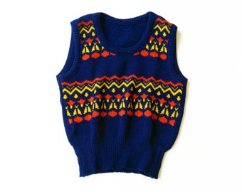 70s kids vest 70s size 6-7Y vinTage ReTro kids oldSchool 116/122 hipSter