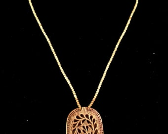 Sandalwood Pendant Necklace, Hand-carved - #73-N