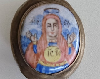 Antique Russian Orthodox Icon Finift Virgin 19th century.