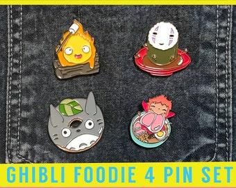 Ghibli Pin Set - Enamel Studio Ghibli Howls Moving Castle cosplay calcifer gift badge brooch pins totoro anime sprited away fan art no face