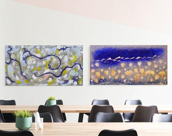 Awesome Set Of Two Original Acrylic Paintings, Horizontal Wall Art. Weird Modern  Painting For Office