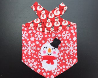 Frosty the Snowman Reversible Pet Bandana - Snap Buttons fasting