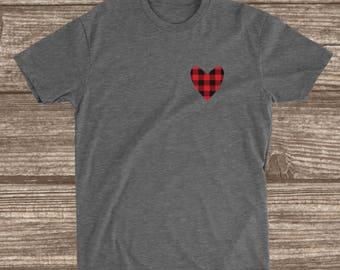 Heart Logo Buffalo Plaid  Valentine's Day Shirt - Valentine Shirts - Women - Men - Love Day - Valentines Day Shirt -