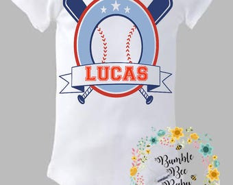 Baseball, Monogrammed With Child's Name - Onesie or Tee