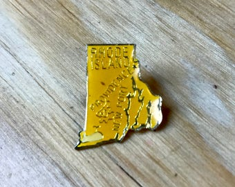 RHODE ISLAND PIN - Vintage Enamel Pin - Travel / Providence / Newport Lapel Pin - Great Gift!