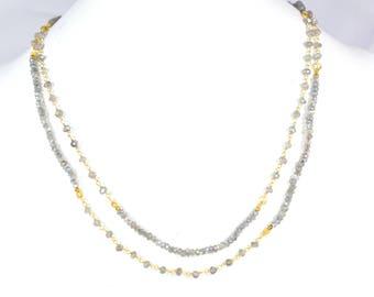 labradorite necklace,grey color necklace,labradorite rosary necklace,labradorite beaded necklace,gemstone necklace,multiple necklace