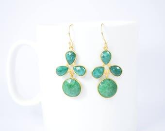 emerald earring ,emerald dangle earring,emerald round earring,emerald jewelry ,pear shape earring,gemstone earring,Christmas gift,