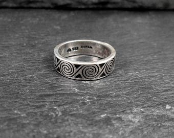 Sterling Silver Swirl Ring - Size 4.75 - Vintage