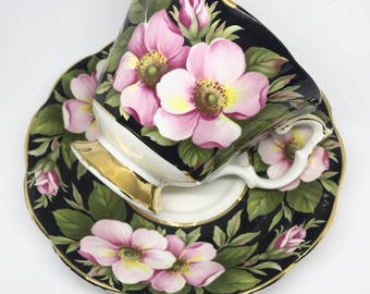 FREE SHIPPING - Cheeky China, CUSTOM!! Floral Tea Cup & Saucer
