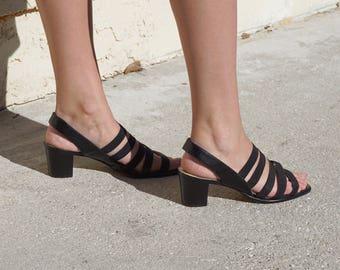 80s Strappy Sling Back Block Heel Heeled Sandal / US 8 / 8.5